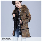 10808A1 Ladies fashion rabbit double face with raccoon dog collar fur long coat / overcoat