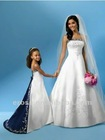 FG-075 Embroidery Spaghetti Straps Satin Blue And White Flower Girl Dress With Train
