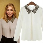 2012 autumn new western style chiffon unlined upper garment sequins collar