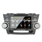 TOYOTA Highland 8 inch touch screen car navigation gps tracker dvd music player with Digital TV