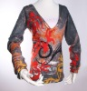 Ladies fashion cashmerelike print sweater V neck pullover SWT-L1132