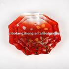 3pcs octagon decal glass dinner plate set