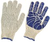 knitted gloves, 7G, PVC palm coated