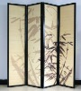 decorative 4 panel folding bamboo room divider screen