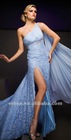 ET-135 Stunning Slit Beaded One-Shoulder Light Blue Lace Evening Dress With Watteau Train