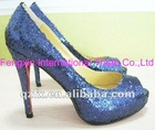Blue glitter High heel peep toe pump shoes, sexy platform shoes