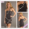 2115-1hs hot design Brown one shoulder sweetheart embellished ruched short sequins cocktail dress