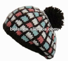Checked dobby knitted ladies party hats berets hat with pompon