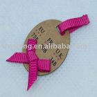 fashionable paper hang tag with ribbon bow for garment