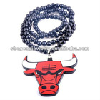 Hip Hop Wooden Bulls necklace Pendant Beads Rosary