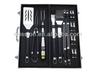 18 pieces aluminum case bbq tools set