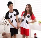 Lover Couple 4pcs Panda Splicing Sleepwear Suit Black & Red HD12062132