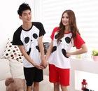 Lover Couple 4pcs Panda Splicing Sleepwear Suit Black & Red HD12062132