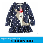 clothes for children applique printing jersey dress,ruffle jersey dress