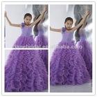 Light purple taffeta and tull flower girls party dresses