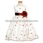 White Pink Dot Easter Flower Girl Dress