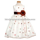 White Pink Dot Easter Flower Girl Dress