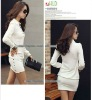 HOT New OL Lady Women Lapel V-neck Henley Long Sleeve Solid Career Mini Dress