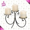 Wrought Iron Swirl Design Triple Pillar Candle Holder