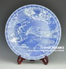Blue and white ceramic displaying plates