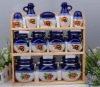 set of 12 food canister with wooden holder