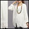 Vintage 70s BOHO CROCHET LACE dress White Shirt Long Sleeve Blouse/TOP