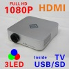 3LED projector,HD projector,HDMI,1080p,USB/SD,TV, mini portable projector