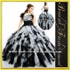 Tulle One Shoulder Ruffled Black And White Quinceanera Dresses