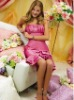 LW289 Elegant simplicity strapless taffeta knee length custom made Bridesmaid dresses