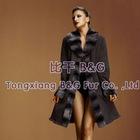 BG5080 Genuine Rabbit Fur Women Clothes with REX RABBIT Fur Collar OEM Wholesale/Retail