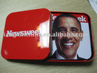 Logo printing 4pcs set square tin mat for cups in red