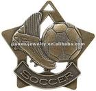 Star shape footbal shape antique plated medal