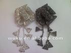 flower design crystal metal brooch