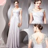 2012 Silver Mesh Bodice Jewel Neck Polyester Women's Long Dresses cocktail