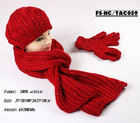 acrylic knitted scarf and hat suit