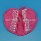 100% Cotton Heart Shaped Foldable Pot Holders with Lace