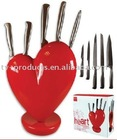 Heart Knife Block red