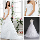 MWD0028 Fashion Forward Organza Allover Draped Pick-p With Empire And Lace-up Back Beaded Lace Wedding Gown