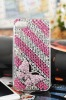 Pink butterfly rhinestone phone case