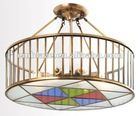 Round copper and glass pendant lamp ceiling lamp for living room, hotel W670XH400mm