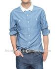 Contrast Collar blue Shirt HSB008