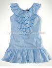 kid clothes, children Clothing, Cotton Ruffle Dress (80015)