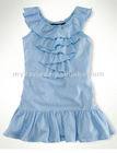 kid clothes, children Clothing, Cotton Ruffle Dress (80015)