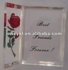 Lucite red rose tabletop crafts-trianglde shape/Engraved acrylic display gifts for best friend