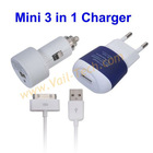 Mini 3 in 1 Car Charger for iPad 2/iPhone 4 4S 3GS