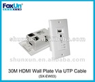 Wall Plate HDMI Repeater with IR via cat6 cable 30m