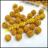 disco yellow full shamballa crystal rhinestone pave ball WB01