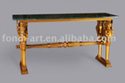 antique gold cosole table with india green marble