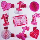 1ST BIRTHDAY PARTY PAPER DECORATION KIT - PINK