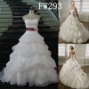 A-line Strapless Scalloped-Edged Neckline Organza Floor-length Wedding Dress FW293